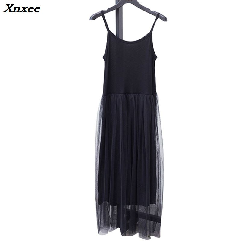 Xnxee 2018 Sexy Off Shoulder Summer Women Dress Female Loose Spaghetti Strap Mesh Ladies Party Dresses New Clothing