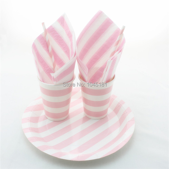 ipalmay Disposable Party Tableware Sets Pink Striped Paper Plates Cups Straws Napkins for Party Favor Decor  sc 1 st  AliExpress.com & Aliexpress.com : Buy ipalmay Disposable Party Tableware Sets Pink ...