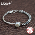 New Retro 100% Real 925 Sterling Silver Jewelry Vintage Bracelets Bangles with Pearl for Women about 16cm Free Shipping SY40108