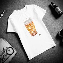 Fashion Short Sleeve T Shirt Beer Text Art Printed 100% Cotton Top Tees Men Casual O Neck T-Shirt Unisex Couple TShirt(China)