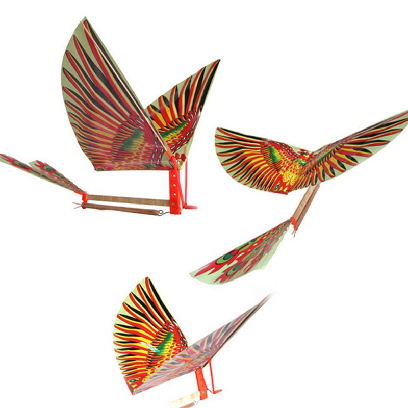2 Pcs Creative Rubber Band Power Baby Kids Adults Handmade DIY Bionic Air Plane Ornithopter Birds Models Science Kite Toys Gifts