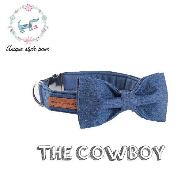 Denim blu Adjustabel collare di Cane & Bowtie per Cucciolo