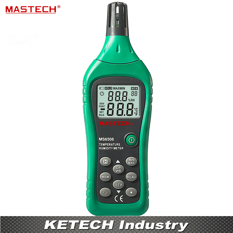 Mastech Digital Hygrometer Temperature Humidity Meter MS6508 Dew Point Wet Bulb ht 86 digital thermometer hygrometer wet bulb dew point temperature meter o0s0