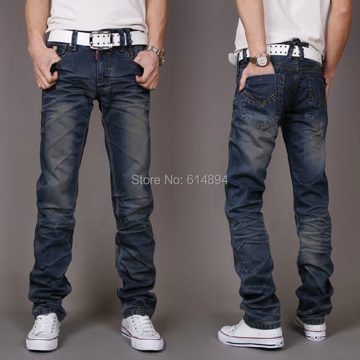 ФОТО 2017 New Spring Summer Fashionable Man Small Straight Jeans Casual Slim Water To Wash Blue Business jeans High Quality