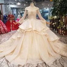 HTL046 Internationale Nieuwe Ontwerp Bruiloft Jurken Met Peplum O hals Lange Mouwen Baljurk Sukienka Na Wesele Dla Gościa
