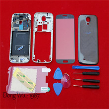 Black Cell Phone Case Replacement Full Housing Cover  Case + Screen Glass Lens+Tools + Buttons For Samsung Galaxy S4 i337