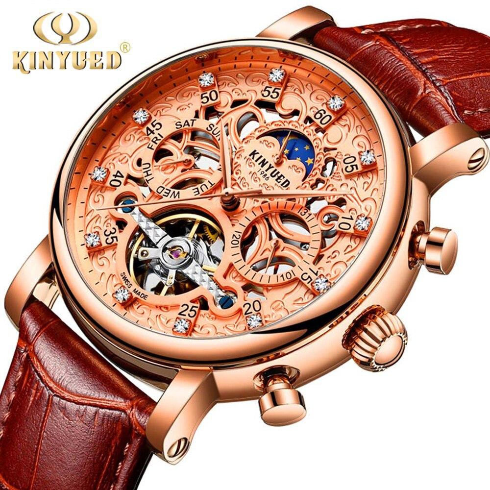 KINYUED Скелет автоматические часы для мужчин Защита от солнца Moon Phase водостойкие для мужчин s Tourbillon деловые часы лучший бренд класса люкс наруч...