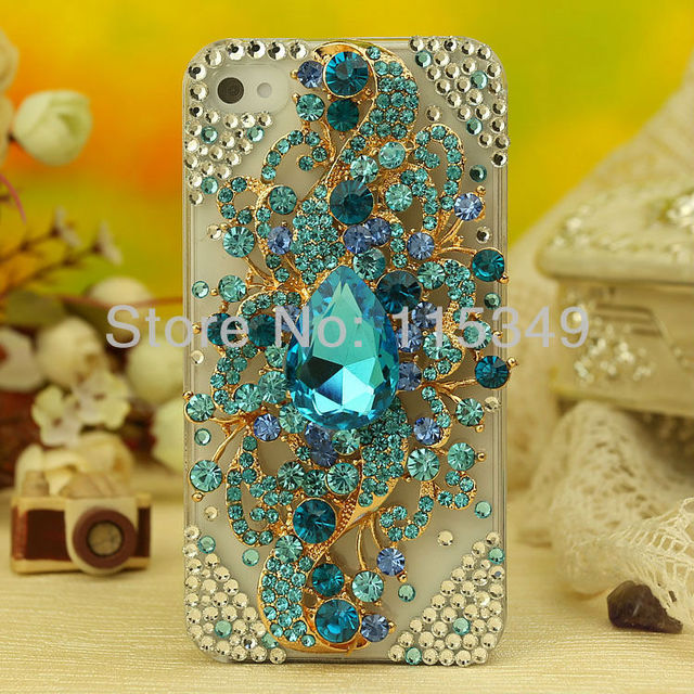 Free shipping new Fashion elegant mobile cover for Bling Rhinestone iphone 4 4S case Angel Tear  Diamond Handmade Crystal