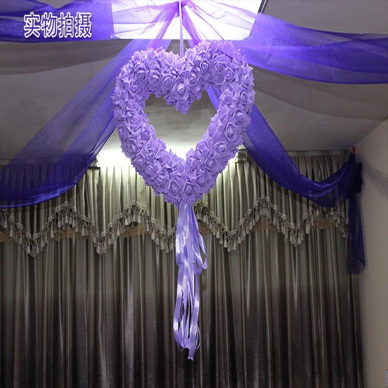 40x40cm Artificial Silk Rose Wedding Car Decoration Heart Shaped