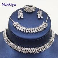 Nankiya Best Selling Willow Shape Horse Eye Zircon Jewelry 4pcs Set Necklace Earrings Ring Bracelet Weddiing Jewelry Party NC425