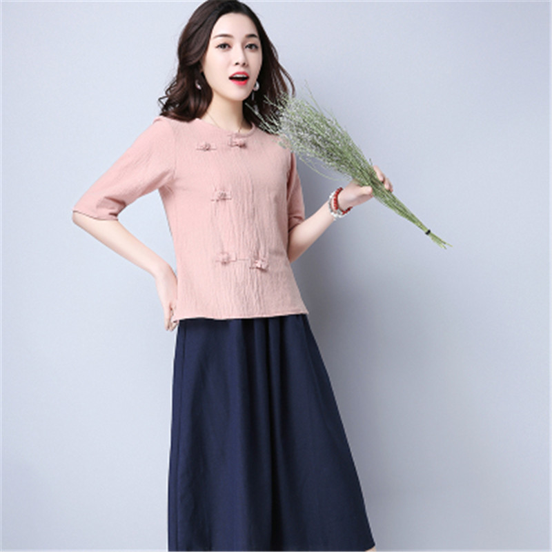 Cotton 2018 Summer Half Sleeve Loose Lady Vintage Women Shirt O Neck Chinese Style Linen T-Shirt Button 3XL 4