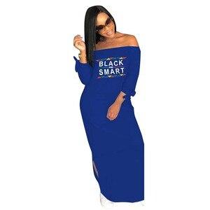 Image 5 - Africa Vestiti di Autunno Donne Sexy Casual Senza Spalline Side Split Manica Lunga Vestito lungo Allentato Lettera di stampa Più Il Formato S XXXL