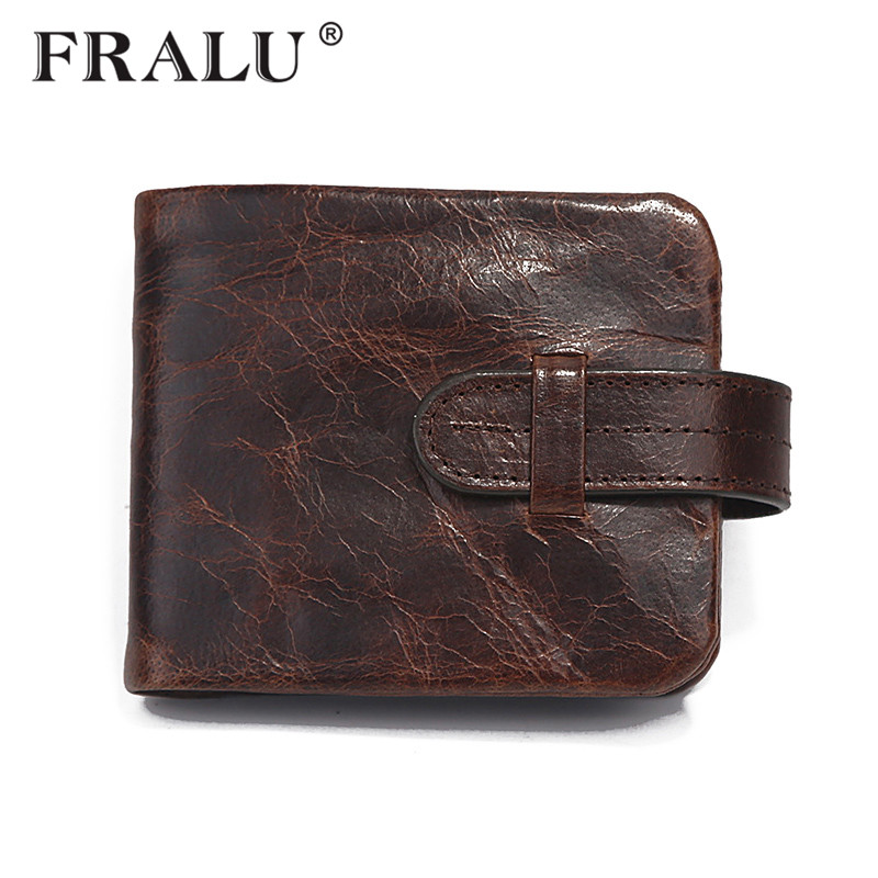 FRALU New 100% Genuine Leather Men Wallets Man Famous Small Short portomonee with Coin Zipper Mini Male Purses Card Holder Walet