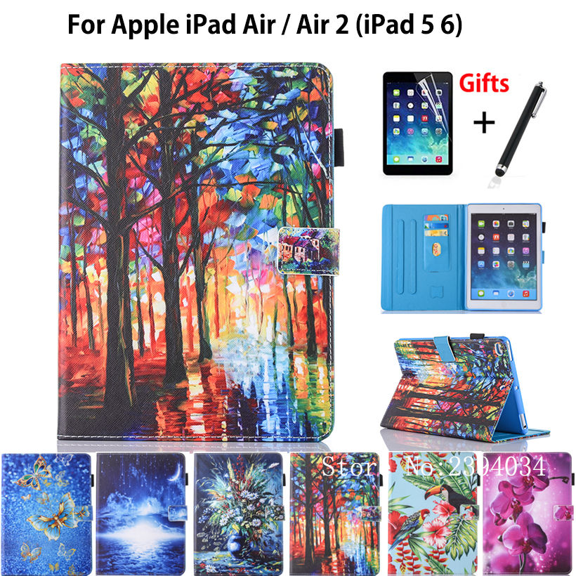 Fashion Print Case For Apple iPad air 1 2 case For iPad 5 6 Smart Case Cover Funda Tablet PU Leather Stand Shell+Film+Pen rygou smart cover for apple ipad air 2 ipad 6 pu leather magnetic front case hard back cover for ipad air 2 case tablet c