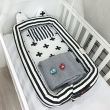 Infant Baby Portable Bed Multifunctional Detachable Crib Newborn Bionic Bed Washable Kids Travel  Removable Cotton Cradle natural straw hand knitting baby portable bed crib breathable outdoor travel cars baby cradle bed protector for kids