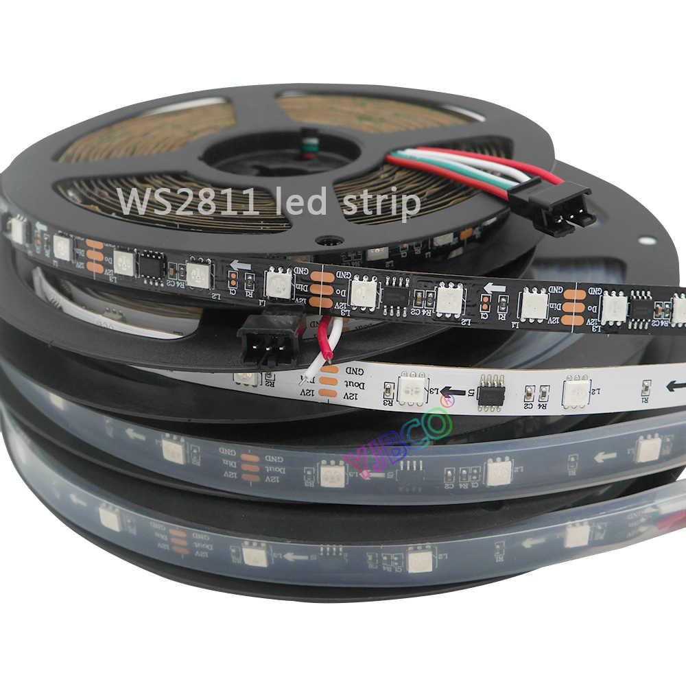 1 m/3m/5 m/30/48/60 Светодиодный s/m Full Цвет WS2811 Светодиодные ленты DC12V черный/белый цвет ПХБ RGB Smart Pixel управления Светодиодные ленты