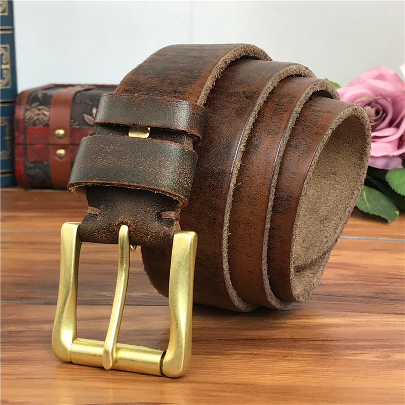 Men Belt Leather Genuine Brass Belt Buckle Vintage Leather Belt Men Cowboy Jeans Men Trouser Belt Ceinture Riem MBT0005