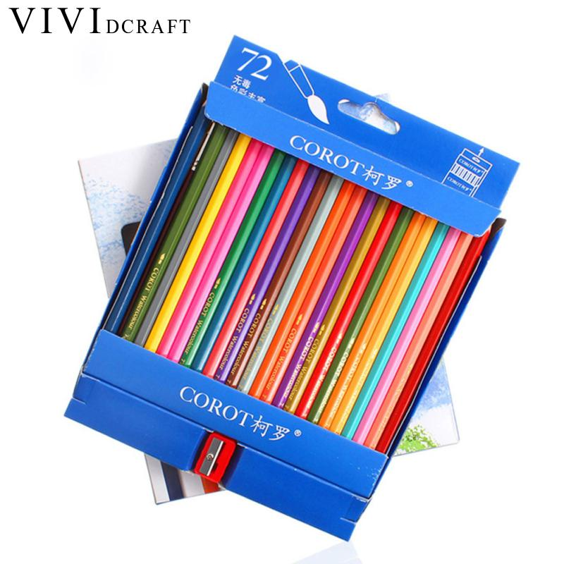 Vividcraft Arting Supplies 72Colors Safe Non-toxic Lead Water Soluble Colored Pencil Watercolor Pencil Set for Write Pencils artist 36 48 60 72 colors lapis de cor profissional cores safe non toxic watercolor pencils set for colouring books art supplies