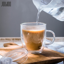 JOUDOO Transparent Double Layers Glass Water Cup High Quality Mug With Lid Heat Resistant Tea Coffee Milk Drinkware Cups35