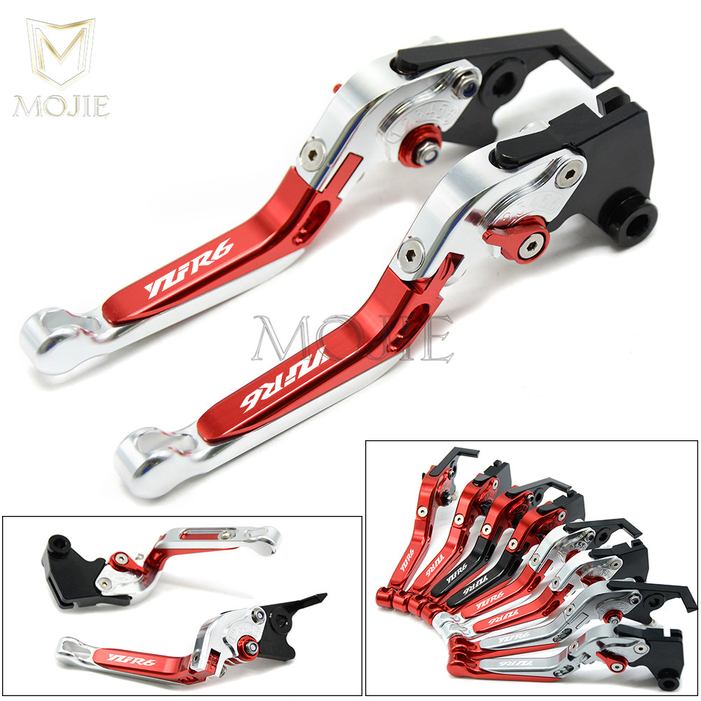 Motorcycle Levers For Yamaha YZF R6 YZF-R6 1999-2004 2000 2001 2002 2003 Adjustable Folding Extendable Brake Clutch Levers YZFR6 for yamaha xt600e xt 600e 600 e 1990 2003 2002 2001 2000 1999 cnc folding extendable 147 short clutch brake levers 8 colors
