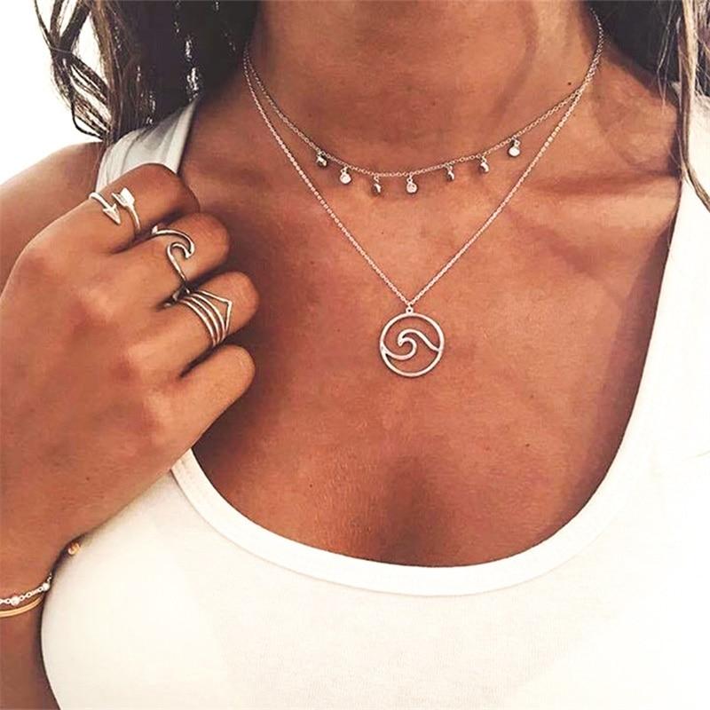 Винтажное резное ожерелье с монеткой для женщин, модное золотое ожерелье с медальоном, несколько Подвеска со слоями, длинное ожерелье, ювелирные изделия в стиле бохо - Окраска металла: Sliver