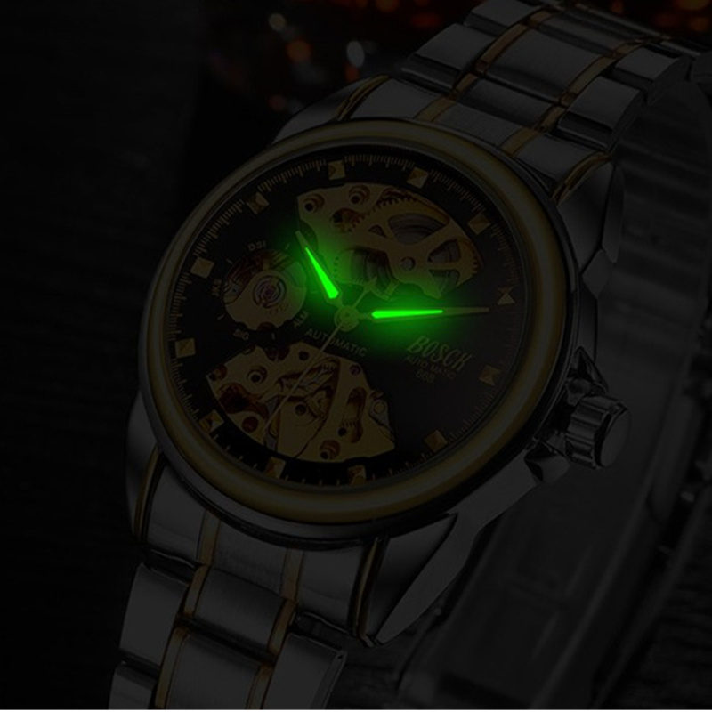 BOSCK Automatic Mechanical Wrist Watch Men Self-winding Skeleton Watches Top Brand Luxury Gold Watch Clock erkek kol saati 4