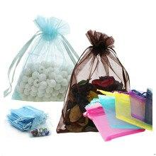 50 шт., 9x12, 10x15, 13x18 см, тюль из органзы, сумки из прозрачного сетчатого материала, ювелирные изделия, упаковка, сумки из органзы, свадебное саше, Подарочная сумка 5z