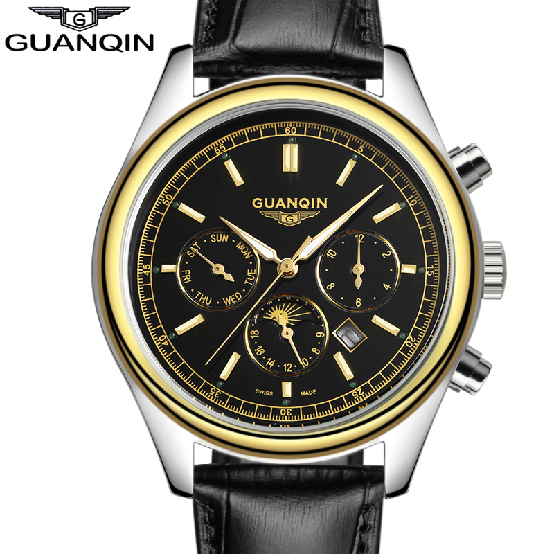 relogio masculino Famous Brand GUANQIN Watches Men Sport 24 Hour Date Clock Mens Gifts Genuine Leather Quartz Watch reloj hombre olevs fashion mens sport watches auto date rose gold leather quartz watch reloj hombre 2017 male clock hour relogio masculino