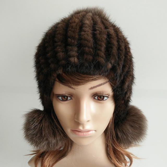 2016 new fashion Women winter mink fur hat ear protector caps knitted fux fur leather hat lady causal fur headwear high quality