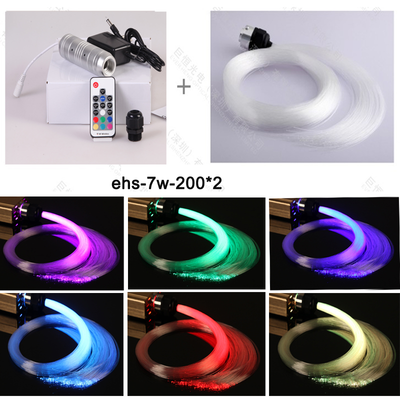 free shipping car use dc12v 7w rgb led fiber optic star ceiling kit