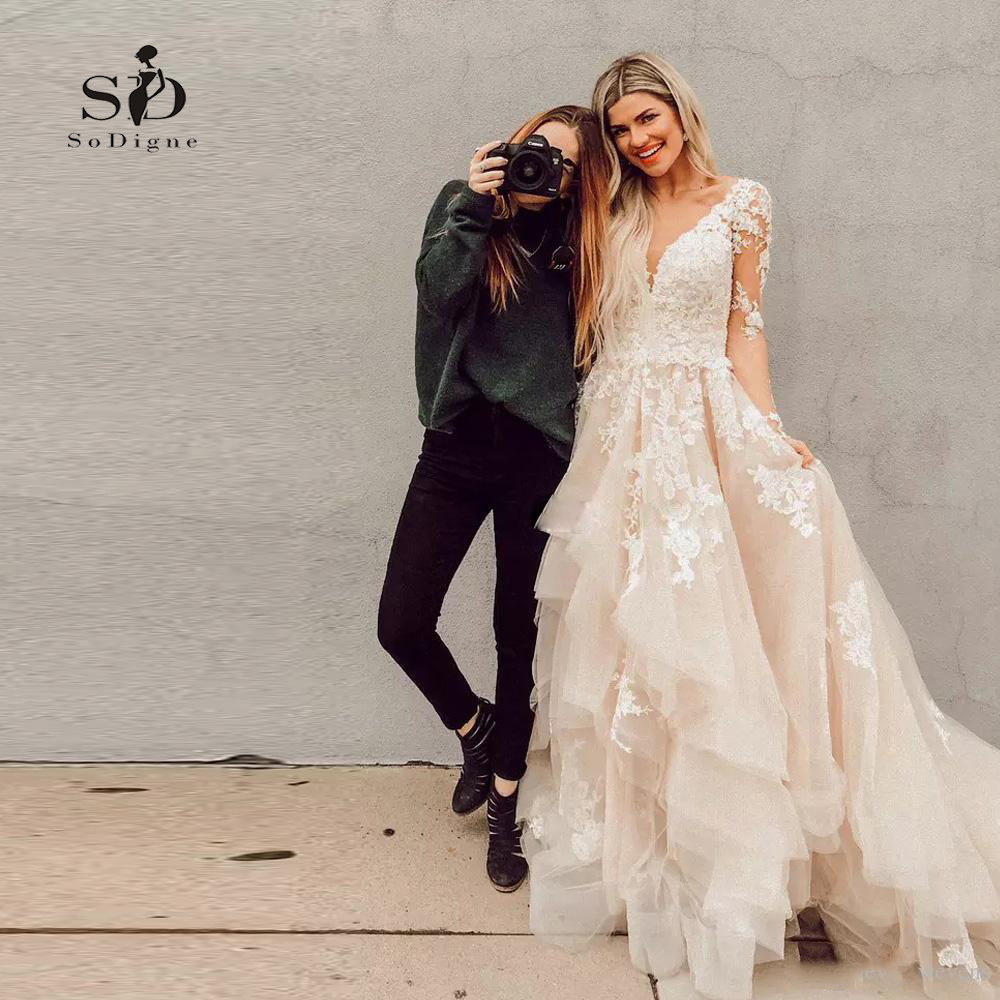 Одежда с длинным рукавом свадебное платье 2018 v образным вырезом Новое поступление романтическая свадебное платье трапециевидной формы тор