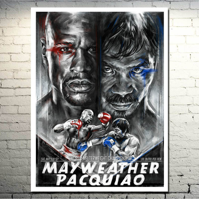 Floyd Mayweather VS Manny Pacquiao 2015 Döyüş Boksu Dekor İpək - Ev dekoru - Fotoqrafiya 1