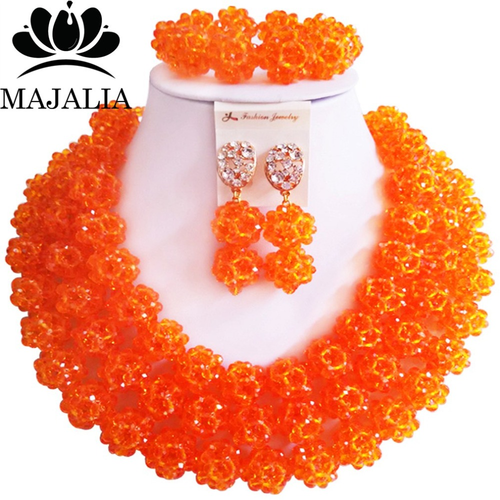 купить Fashion african wedding beads orange nigerian wedding african beads jewelry set Crystal Free shipping Majalia-329 по цене 3495.07 рублей