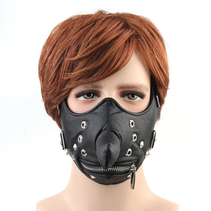 Punk Black PU Leather Mask Motorcycle Biker Cosplay Mask Breathable Women Men Long Nose Zipper Rivets Half Face Mask Adjustable