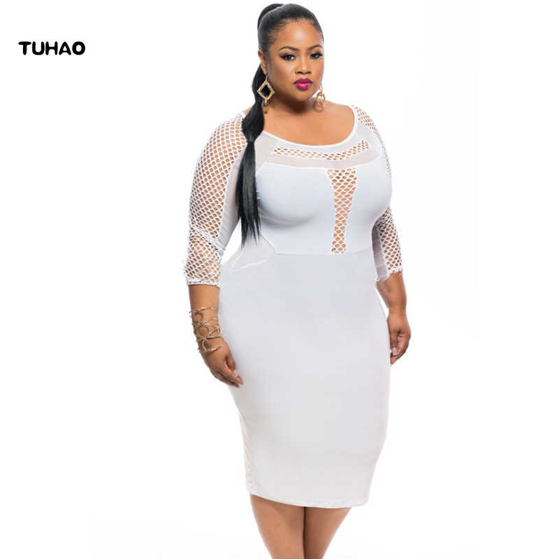 8da6a6acc51 TUHAO 2017 summer large size 2XL 3XL Women Sexy Evening Party Bodycon white  Dress hollow out