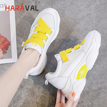 HARAVAL Personality ladies white sneakers platform shoes fashion Velcro casual shoes lightweight mesh breathable women shoes N96 haraval personality ladies white sneakers platform shoes fashion velcro casual shoes lightweight mesh breathable women shoes n96