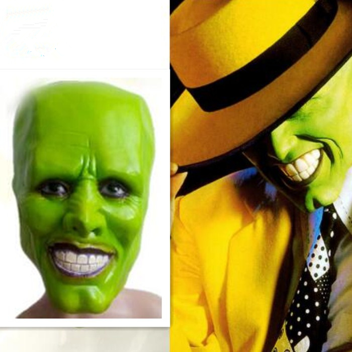 Free shipping Halloween Party Cosplay Latex Classic Movie Adult The Mask Jim Carrey Mask Cosplay Helmet Green Movies Mask image