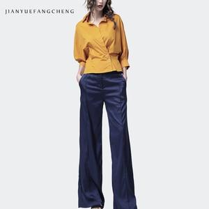Image 5 - 2019 الصيف المرأة لينة الحرير السراويل السراويل عالية الخصر واسعة الساق جيب مطوي عادية الشارع الشهير سروال فستان للنساء