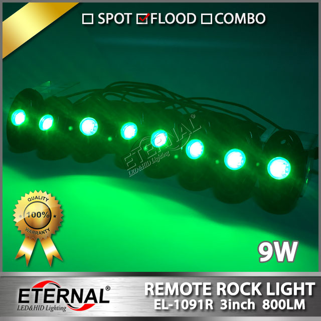 8pcs/set 9W RGB LED Rock Light for ATV UTV SUV RZV 4X4 Offroad Motorcycle Car Boat Watercraft Snowmobile Helicopter golf cart