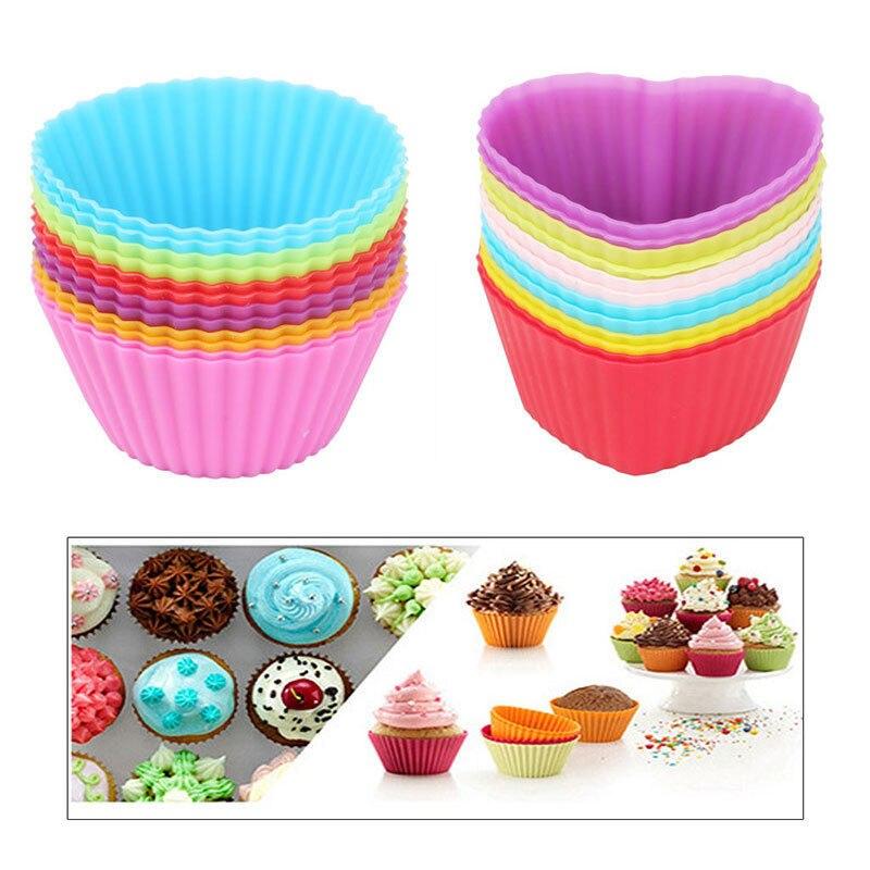 12PC/Lot <font><b>Silicone</b></font> <font><b>Cupcake</b></font> <font><b>Liner</b></font> Holders Cup <font><b>Muffin</b></font> Dessert Baking <font><b>Chocolate</b></font> Mold
