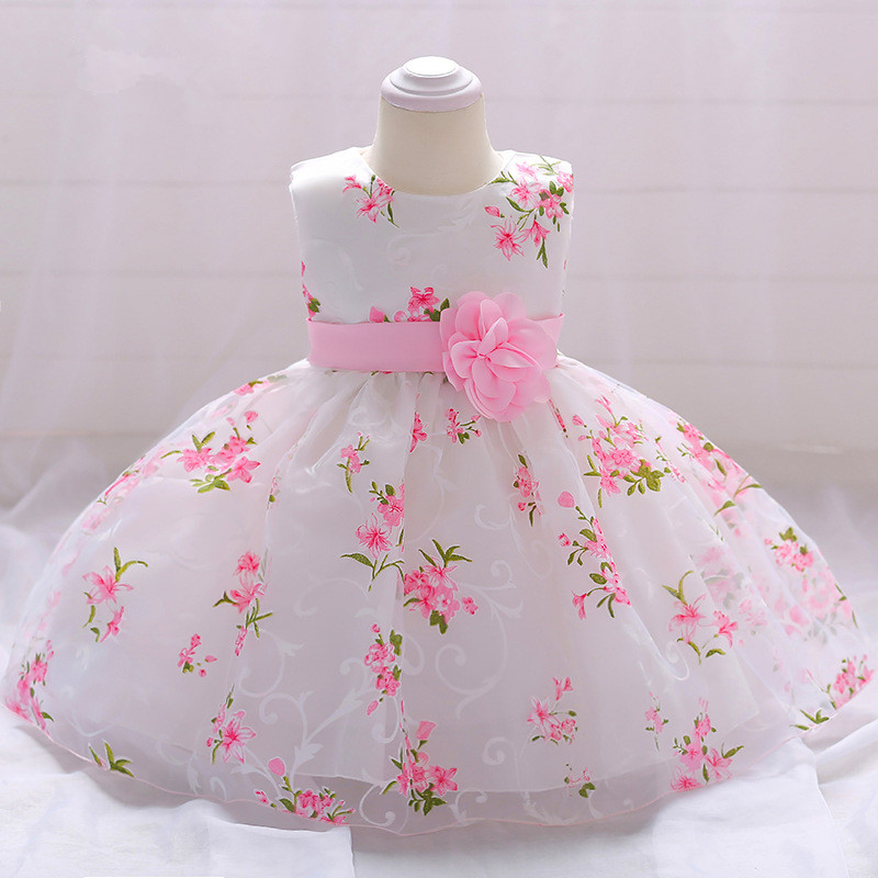 Pretty lace Printed   Flower     Girl     Dresses   2019 Pink Sash Communion   Dresses   Sleeveless Pageant   Dresses   For   Girls   DR19091