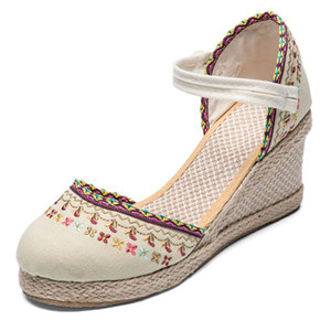 Image 3 - Veowalk Bohemian Women Canvas Wedge Espadrilles Sandals Handmade Linen Ankle Strap 7cm High Heel Platforms Comfort Summer Shoes