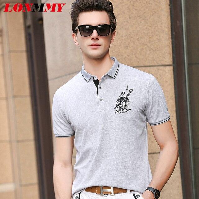 bcad009b LONMMY Polo shirts Men clothes Short Sleeve Cotton blusas Fashion casual  camisas Men polo shirt Black white gray 2018 Summer
