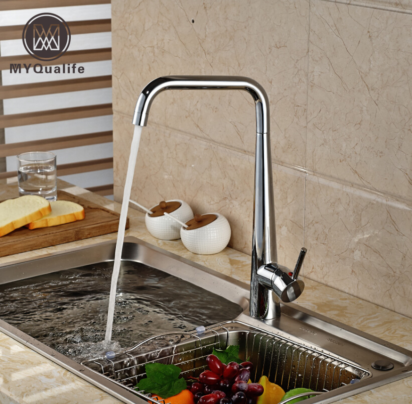 Good Quality Swivel Rotation Kitchen Sink Hot Cold Water Faucet Deck Mount One Hole Brass Mixer