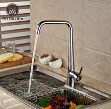 Хорошее качество поворотный вращения Кухня Раковина горячей и холодной воды кран Палуба Гора одно отверстие латунь Смесители хромированной отделкой
