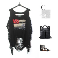 Fashion Summer Sexy Ladies Punk Style Hollow Casual T Shirt Tops Blouse Tassel Flag Tank Tops