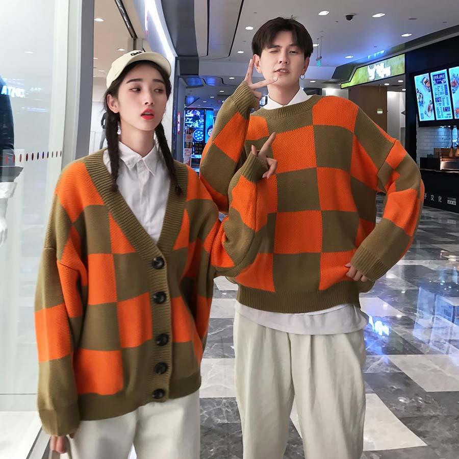 Plaid Cardigan Men Sweater Harajuku Streetwear Men Sweatercoat Winter Check Matching Sweaters Orange Color Korean Couple Clothes