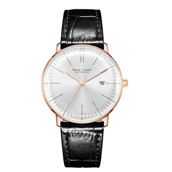 2019 Reef Tiger/RT Top Band Luxury Dress Watch for Men Brown Leather Strap Rose Gold Automatic Watch Montre Homme Clock RGA8215 - RGA8215-PWB