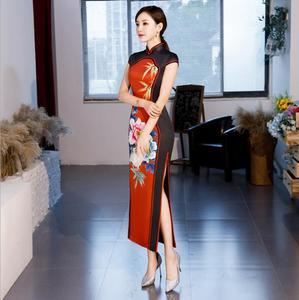 Image 2 - Hot Sale Traditional Chinese Women Long Dress Summer New Silk Satin Qipao Sexy Slim Printed Cheongsam Plus Size M L XL XXL XXXL