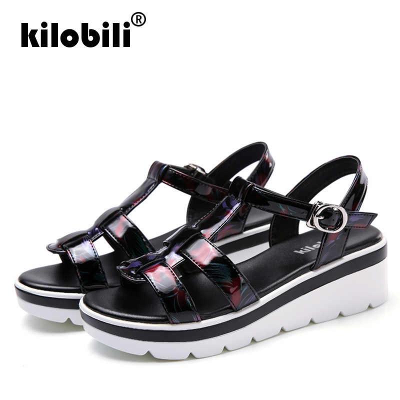 7b3af0c0b8aab ... kilobili 2019 Summer Women Sandals Black Flat Platform Sandals Women  Wedge Beach Flip Flops Ladies Flat